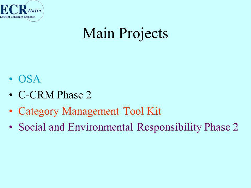 Main Projects OSA C-CRM Phase 2 Category Management Tool Kit Social and Environmental Responsibility Phase 2
