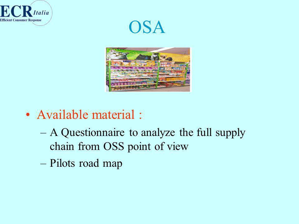 OSA Available material : –A Questionnaire to analyze the full supply chain from OSS point of view –Pilots road map