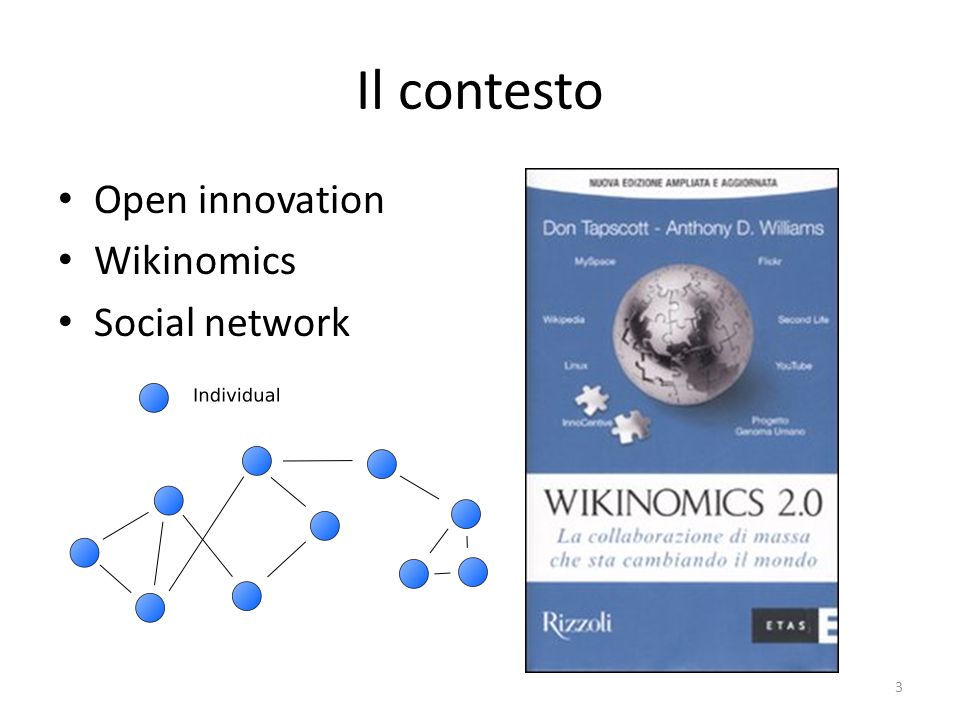 Il contesto Open innovation Wikinomics Social network 3