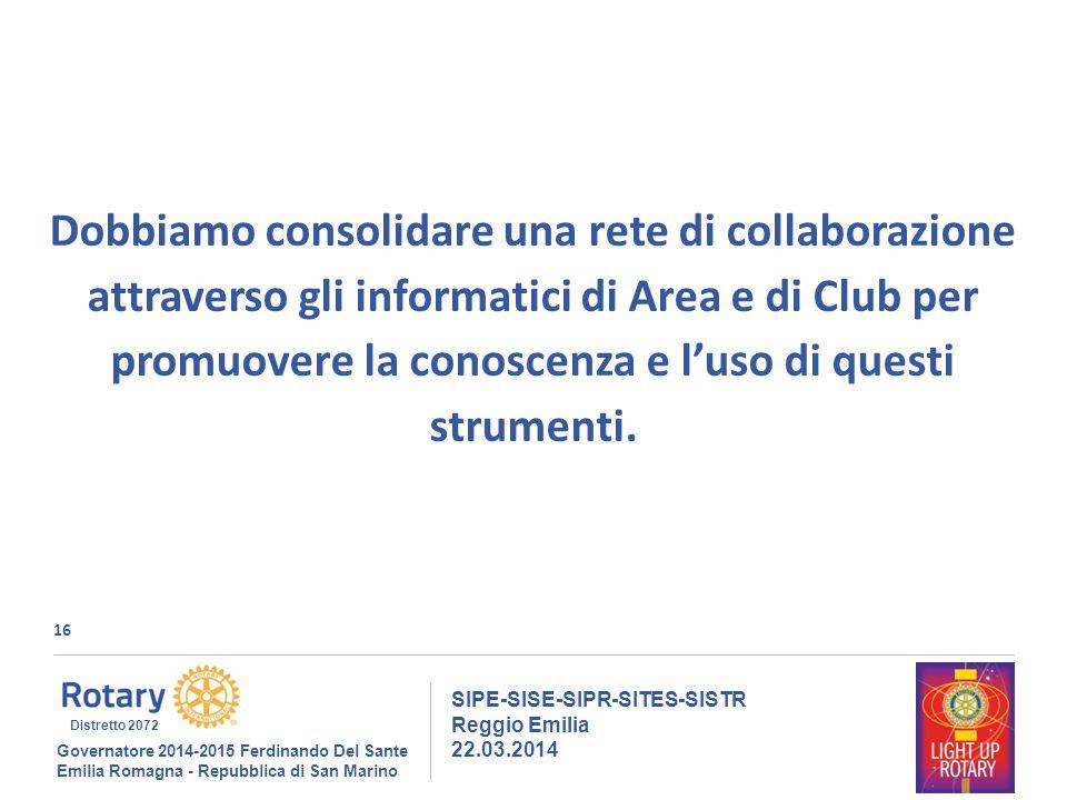 16 SIPE-SISE-SIPR-SITES-SISTR Reggio Emilia 22.03.2014 Governatore 2014-2015 Ferdinando Del Sante Emilia Romagna - Repubblica di San Marino Distretto