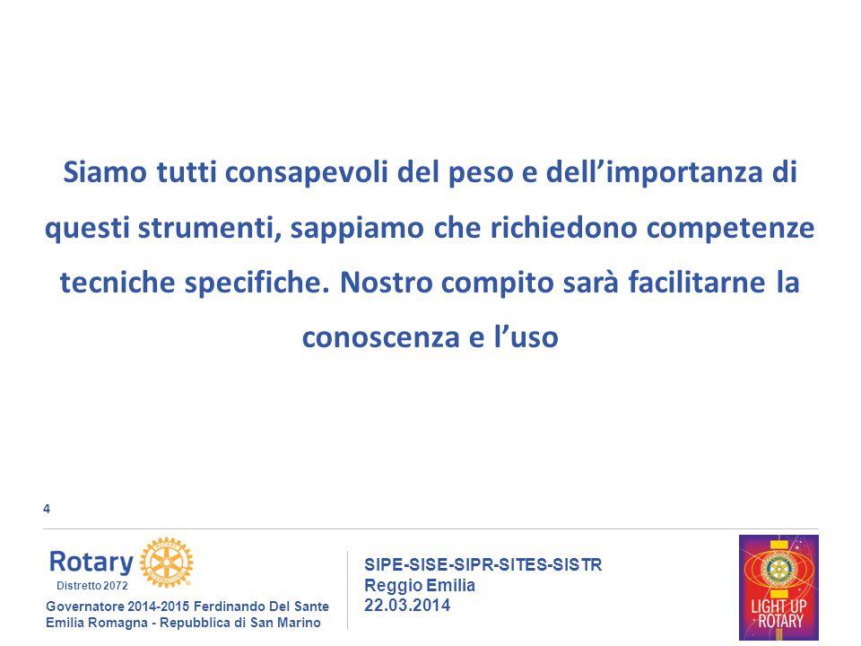 4 SIPE-SISE-SIPR-SITES-SISTR Reggio Emilia 22.03.2014 Governatore 2014-2015 Ferdinando Del Sante Emilia Romagna - Repubblica di San Marino Distretto 2