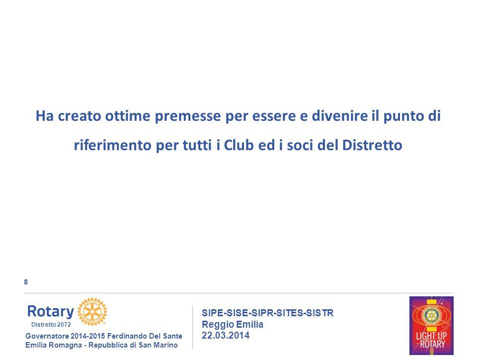 8 SIPE-SISE-SIPR-SITES-SISTR Reggio Emilia 22.03.2014 Governatore 2014-2015 Ferdinando Del Sante Emilia Romagna - Repubblica di San Marino Distretto 2