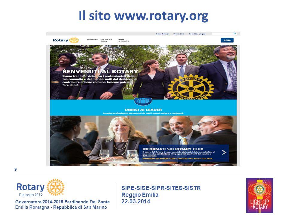 9 SIPE-SISE-SIPR-SITES-SISTR Reggio Emilia 22.03.2014 Governatore 2014-2015 Ferdinando Del Sante Emilia Romagna - Repubblica di San Marino Distretto 2