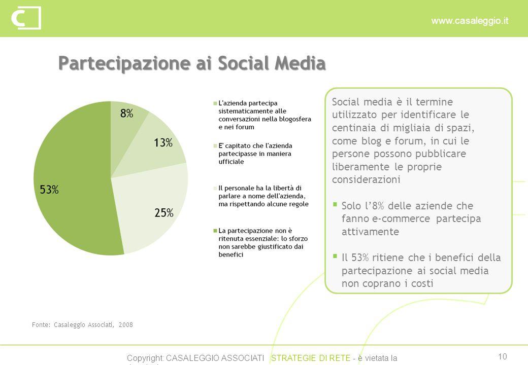 Copyright: CASALEGGIO ASSOCIATI STRATEGIE DI RETE - è vietata la riproduzione www.casaleggio.it 10 Partecipazione ai Social Media Fonte: Casaleggio Associati, 2008 Social media è il termine utilizzato per identificare le centinaia di migliaia di spazi, come blog e forum, in cui le persone possono pubblicare liberamente le proprie considerazioni  Solo l'8% delle aziende che fanno e-commerce partecipa attivamente  Il 53% ritiene che i benefici della partecipazione ai social media non coprano i costi