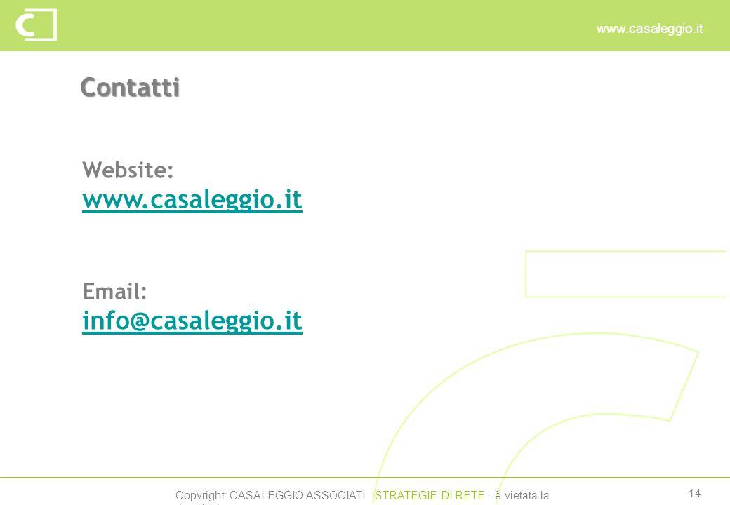 Copyright: CASALEGGIO ASSOCIATI STRATEGIE DI RETE - è vietata la riproduzione www.casaleggio.it 14 Contatti Website: www.casaleggio.it Email: info@casaleggio.it