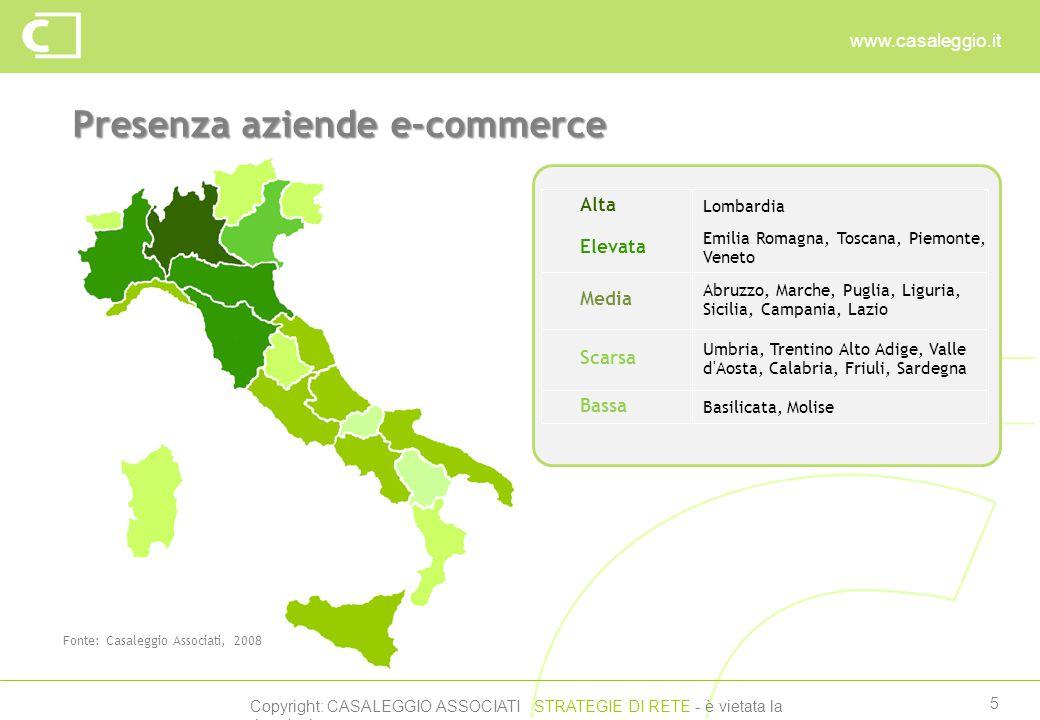 Copyright: CASALEGGIO ASSOCIATI STRATEGIE DI RETE - è vietata la riproduzione www.casaleggio.it 5 Presenza aziende e-commerce Fonte: Casaleggio Associati, 2008