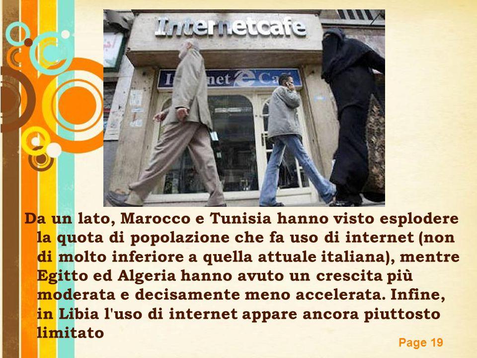 Free Powerpoint Templates Page 19 Da un lato, Marocco e Tunisia hanno visto esplodere la quota di popolazione che fa uso di internet (non di molto inf