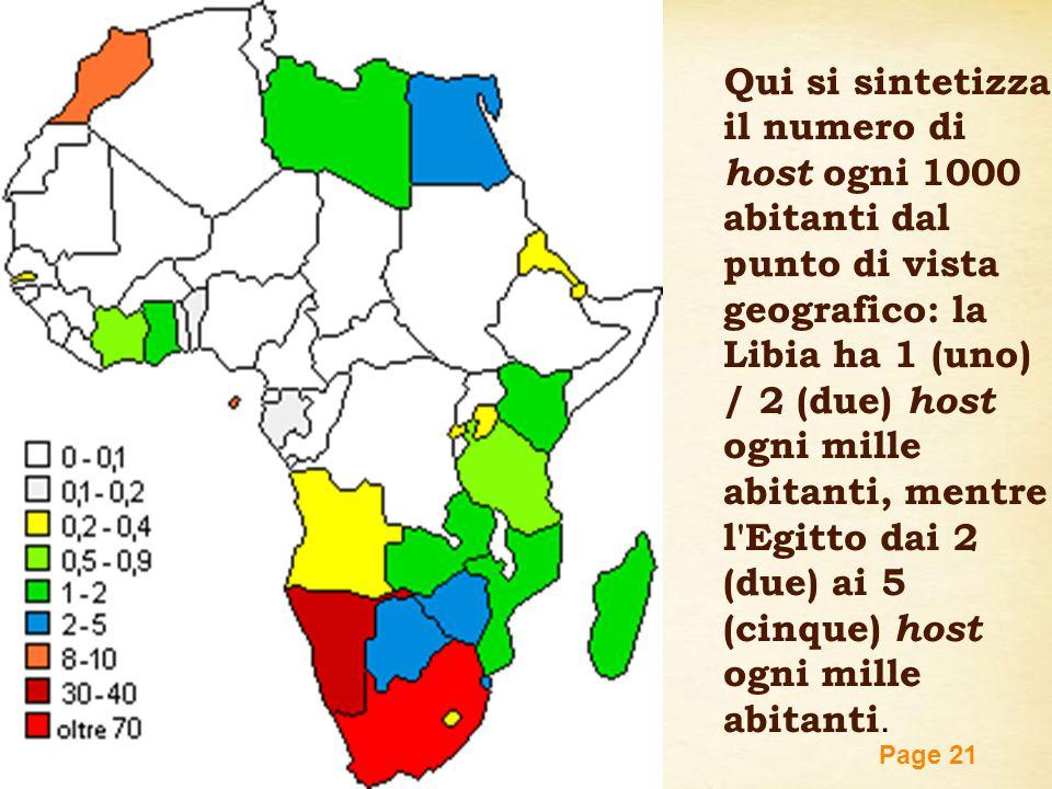Free Powerpoint Templates Page 21 Qui si sintetizza il numero di host ogni 1000 abitanti dal punto di vista geografico: la Libia ha 1 (uno) / 2 (due)