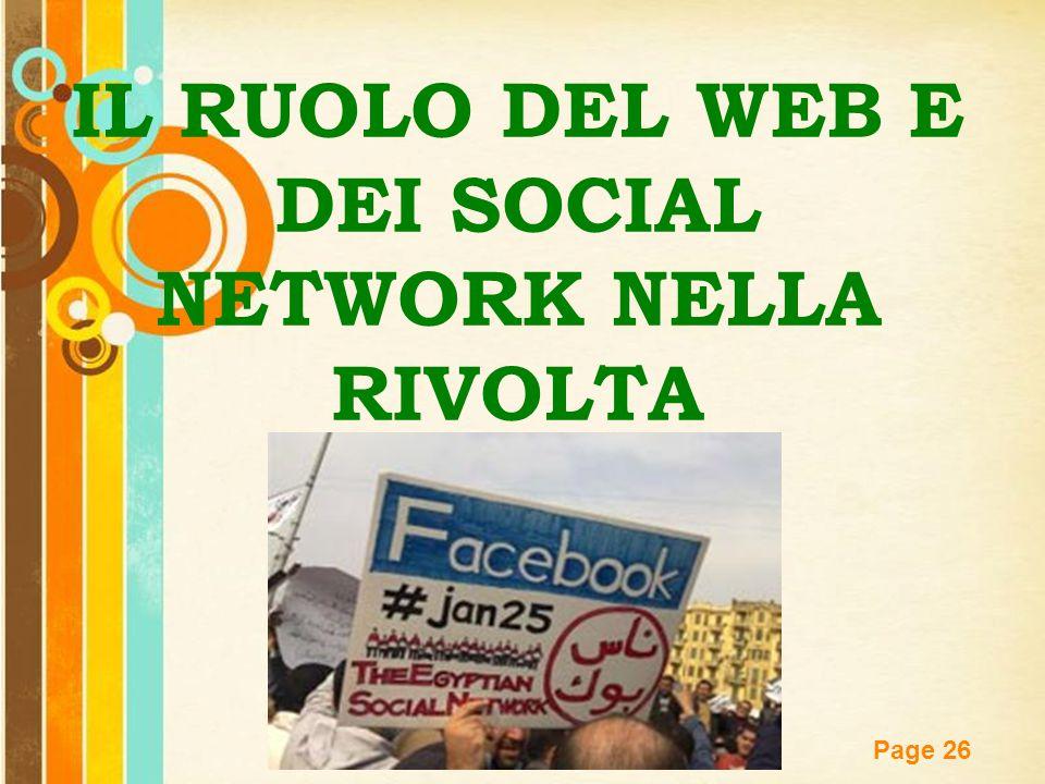 Free Powerpoint Templates Page 26 IL RUOLO DEL WEB E DEI SOCIAL NETWORK NELLA RIVOLTA