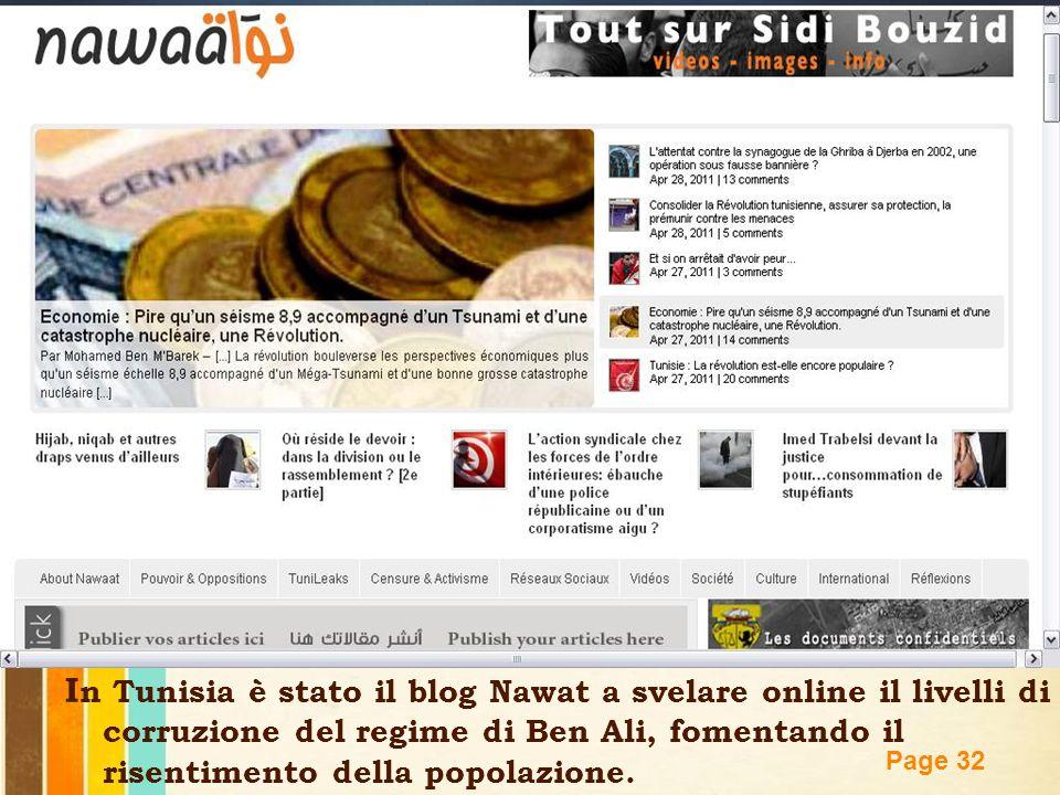 Free Powerpoint Templates Page 32 I n Tunisia è stato il blog Nawat a svelare online il livelli di corruzione del regime di Ben Ali, fomentando il ris