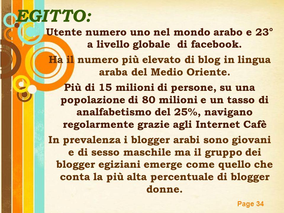 Free Powerpoint Templates Page 34 EGITTO: Utente numero uno nel mondo arabo e 23° a livello globale di facebook. Ha il numero più elevato di blog in l