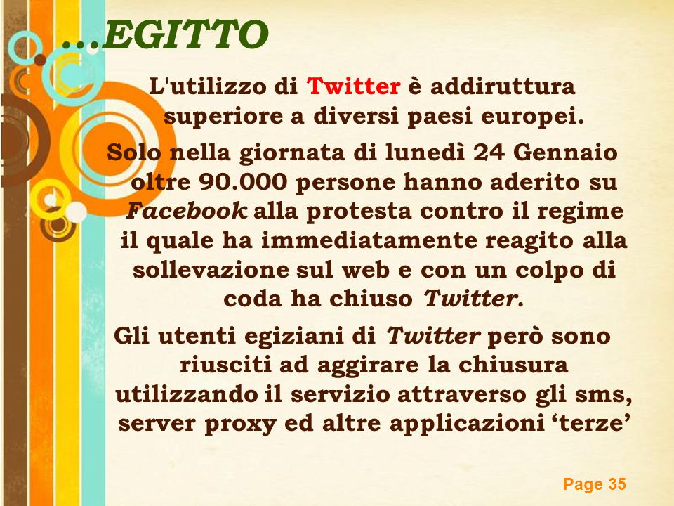 Free Powerpoint Templates Page 35 L'utilizzo di Twitter è addiruttura superiore a diversi paesi europei. Solo nella giornata di lunedì 24 Gennaio oltr