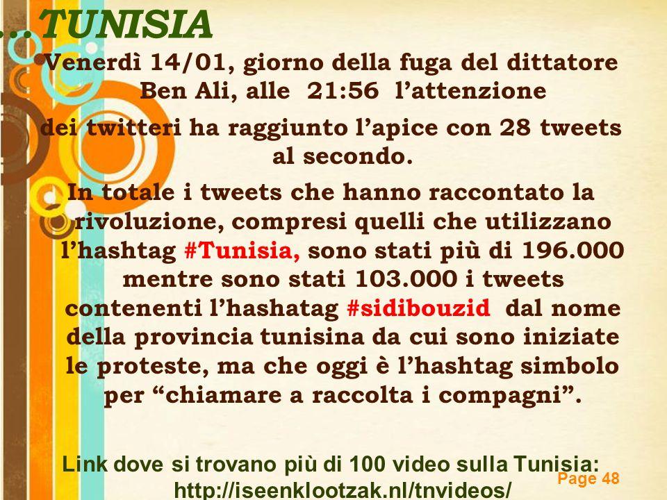 Free Powerpoint Templates Page 48...TUNISIA Venerdì 14/01, giorno della fuga del dittatore Ben Ali, alle 21:56 l'attenzione dei twitteri ha raggiunto