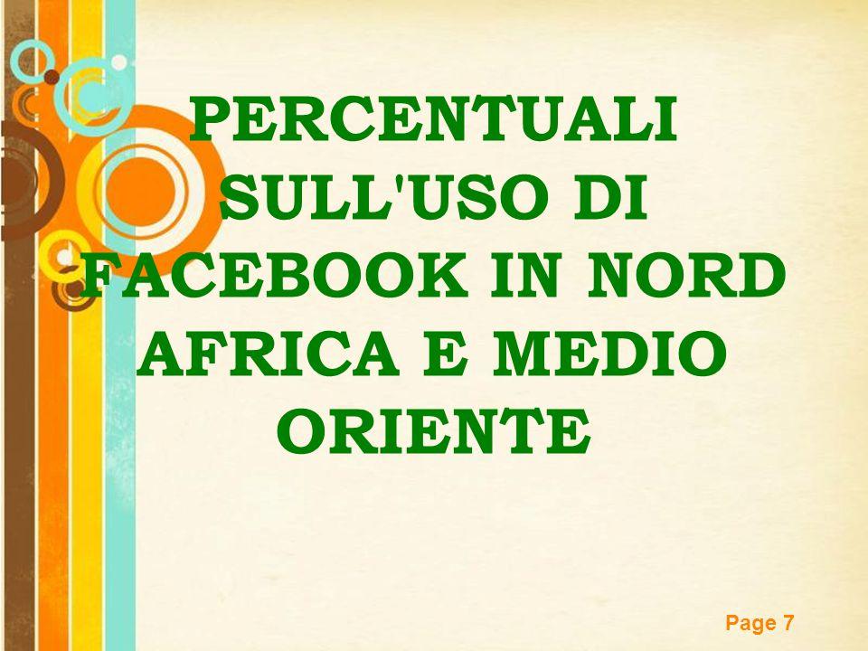 Free Powerpoint Templates Page 7 PERCENTUALI SULL'USO DI FACEBOOK IN NORD AFRICA E MEDIO ORIENTE