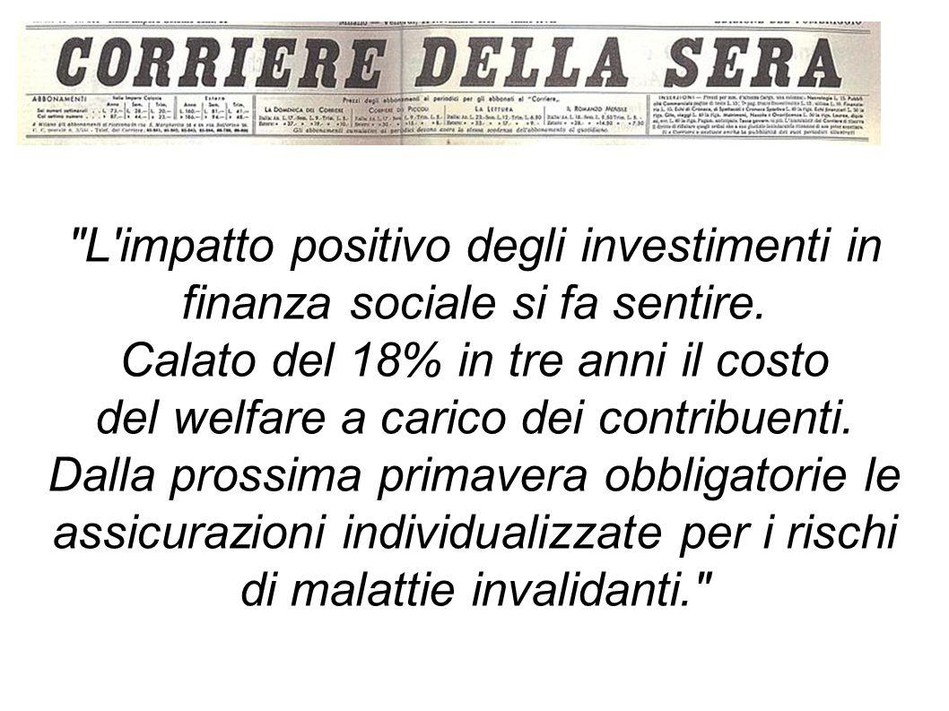 L impatto positivo degli investimenti in finanza sociale si fa sentire.
