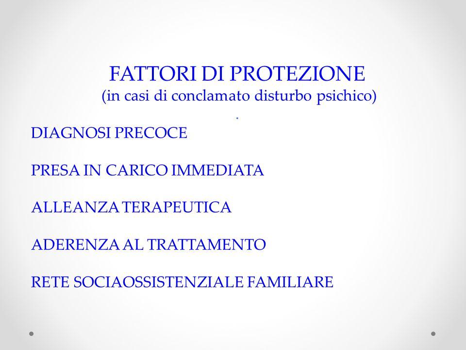 FATTORI DI PROTEZIONE (in casi di conclamato disturbo psichico).