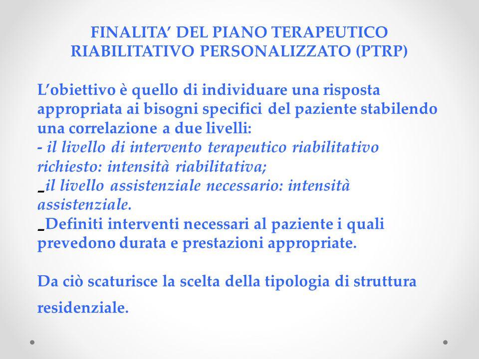 FINALITA' DEL PIANO TERAPEUTICO RIABILITATIVO PERSONALIZZATO (PTRP) L'obiettivo è quello di individuare una risposta appropriata ai bisogni specifici del paziente stabilendo una correlazione a due livelli: - il livello di intervento terapeutico riabilitativo richiesto: intensità riabilitativa; - il livello assistenziale necessario: intensità assistenziale.