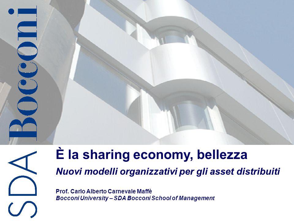 C.A. Carnevale-Maffè 1 È la sharing economy, bellezza Nuovi modelli organizzativi per gli asset distribuiti Prof. Carlo Alberto Carnevale Maffè Boccon