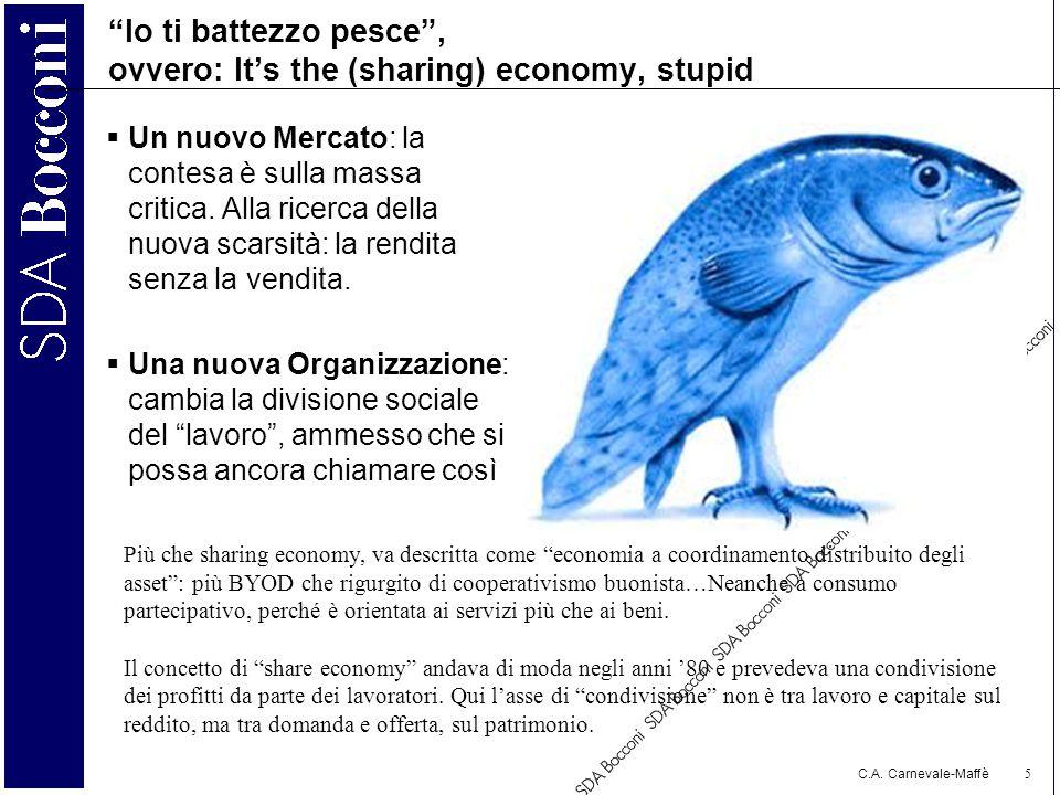"""C.A. Carnevale-Maffè 5 """"Io ti battezzo pesce"""", ovvero: It's the (sharing) economy, stupid  Un nuovo Mercato: la contesa è sulla massa critica. Alla r"""