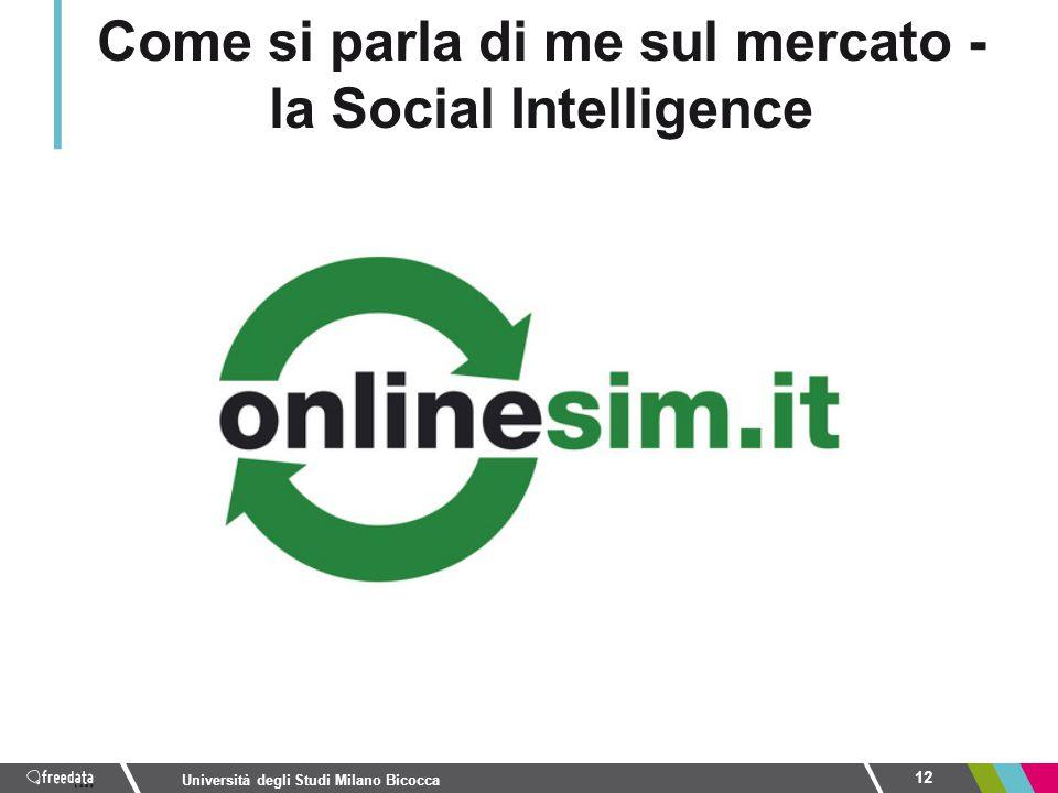 12 Università degli Studi Milano Bicocca Come si parla di me sul mercato - la Social Intelligence