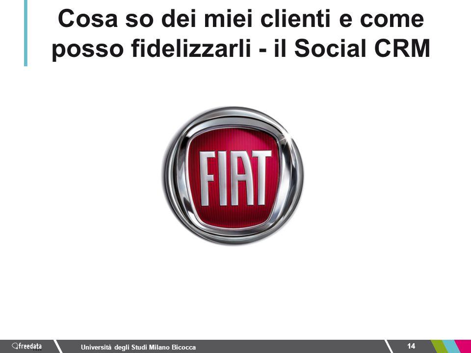 14 Università degli Studi Milano Bicocca Cosa so dei miei clienti e come posso fidelizzarli - il Social CRM
