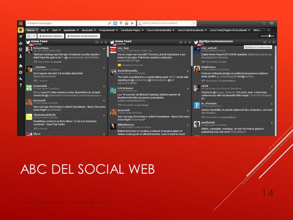 ABC DEL SOCIAL WEB Luca Conti @pandemia - luca.conti@yahoo.it 14
