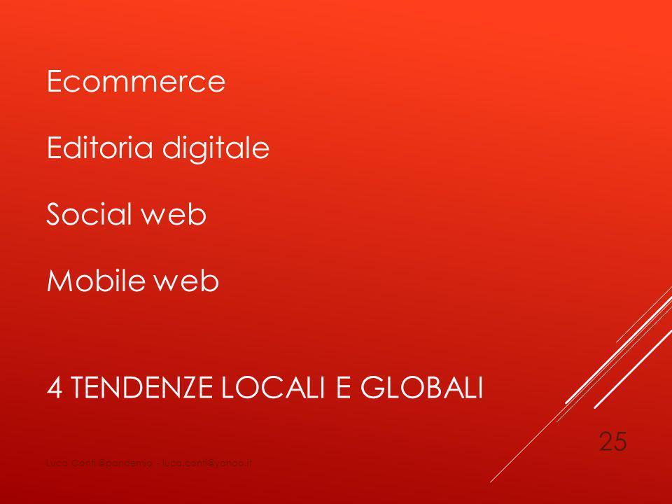 4 TENDENZE LOCALI E GLOBALI Ecommerce Editoria digitale Social web Mobile web Luca Conti @pandemia - luca.conti@yahoo.it 25