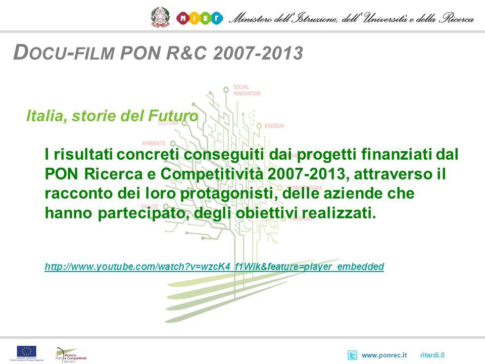@ritardi.0www.ponrec.it D OCU - FILM PON R&C 2007-2013 Italia, storie del Futuro I risultati concreti conseguiti dai progetti finanziati dal PON Ricer