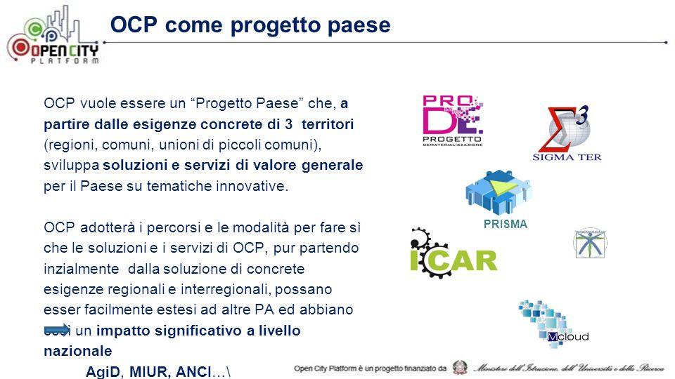 OCP come progetto paese OCP vuole essere un Progetto Paese che, a partire dalle esigenze concrete di 3 territori (regioni, comuni, unioni di piccoli comuni), sviluppa soluzioni e servizi di valore generale per il Paese su tematiche innovative.