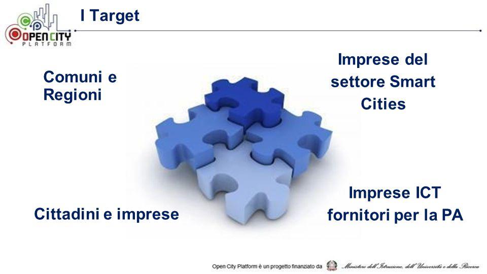 I Target Comuni e Regioni Imprese del settore Smart Cities Imprese ICT fornitori per la PA Cittadini e imprese