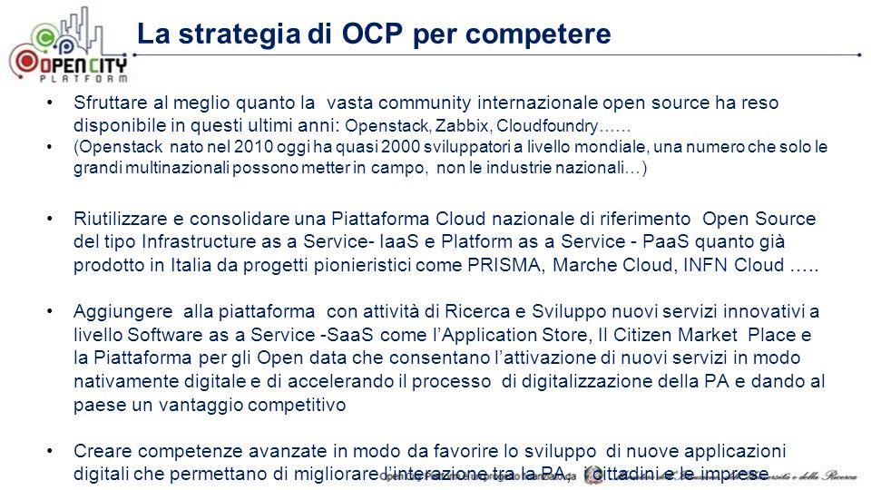 La strategia di OCP per competere Sfruttare al meglio quanto la vasta community internazionale open source ha reso disponibile in questi ultimi anni: Openstack, Zabbix, Cloudfoundry…… (Openstack nato nel 2010 oggi ha quasi 2000 sviluppatori a livello mondiale, una numero che solo le grandi multinazionali possono metter in campo, non le industrie nazionali…) Riutilizzare e consolidare una Piattaforma Cloud nazionale di riferimento Open Source del tipo Infrastructure as a Service- IaaS e Platform as a Service - PaaS quanto già prodotto in Italia da progetti pionieristici come PRISMA, Marche Cloud, INFN Cloud …..