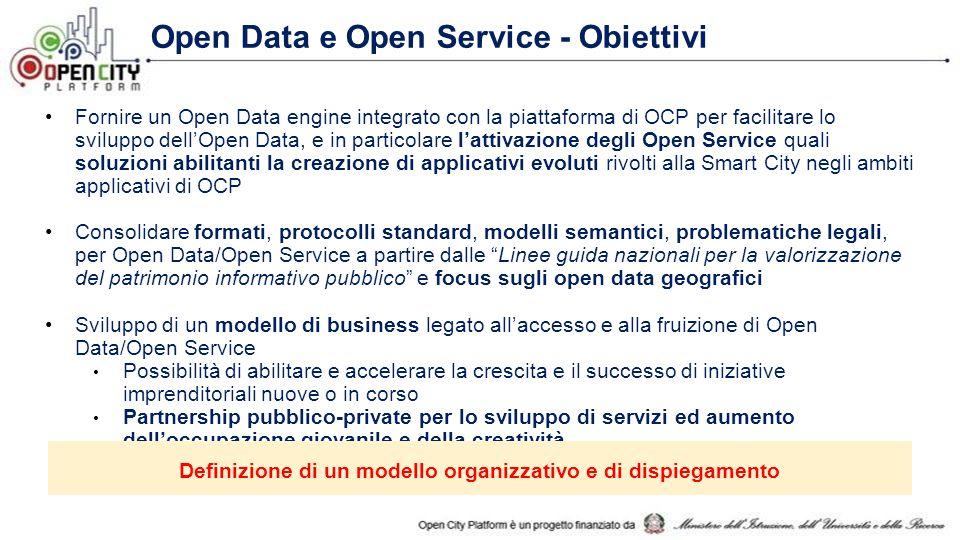 Fornire un Open Data engine integrato con la piattaforma di OCP per facilitare lo sviluppo dell'Open Data, e in particolare l'attivazione degli Open Service quali soluzioni abilitanti la creazione di applicativi evoluti rivolti alla Smart City negli ambiti applicativi di OCP Consolidare formati, protocolli standard, modelli semantici, problematiche legali, per Open Data/Open Service a partire dalle Linee guida nazionali per la valorizzazione del patrimonio informativo pubblico e focus sugli open data geografici Sviluppo di un modello di business legato all'accesso e alla fruizione di Open Data/Open Service Possibilità di abilitare e accelerare la crescita e il successo di iniziative imprenditoriali nuove o in corso Partnership pubblico-private per lo sviluppo di servizi ed aumento dell'occupazione giovanile e della creatività Definizione di un modello organizzativo e di dispiegamento Open Data e Open Service - Obiettivi