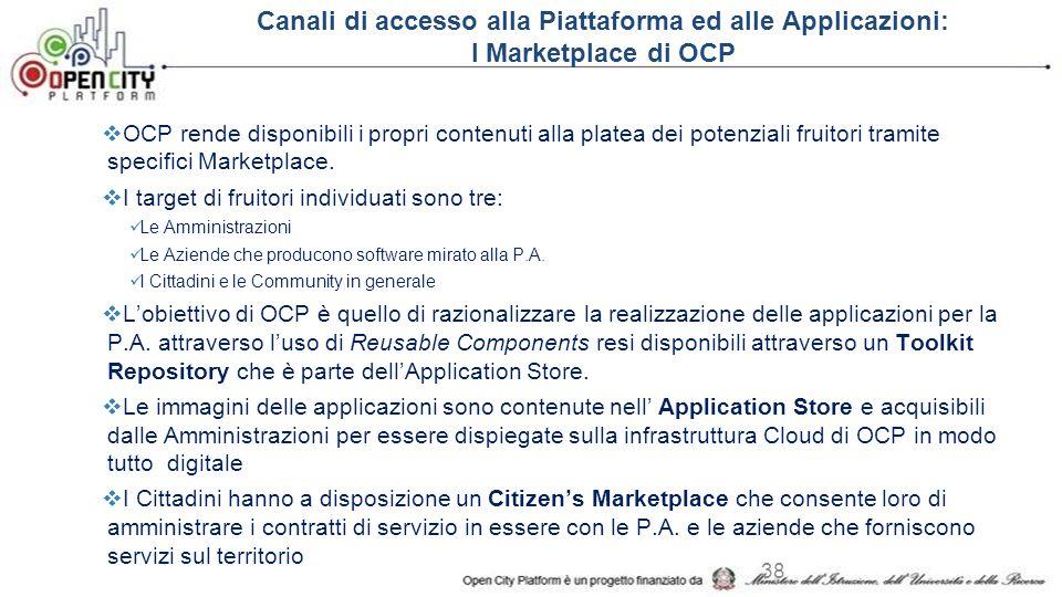 Canali di accesso alla Piattaforma ed alle Applicazioni: I Marketplace di OCP  OCP rende disponibili i propri contenuti alla platea dei potenziali fruitori tramite specifici Marketplace.