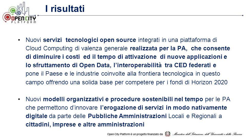 iPaaS nel progetto OCP A livello platform, OCP introdurrà: (i) Un meccanismo di integrazione di tipo iPaaS che permette di sfruttare contemporaneamente IaaS diverse e applicazioni su infrastrutture diverse (ii) Componenti riusabili per lo sviluppo di servizi applicativi e una PaaS specifica per l'e- Government (iii) Una piattaforma abilitante per gli Open Data/Open Service.