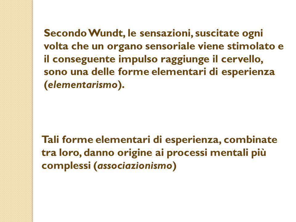 Secondo Wundt, le sensazioni, suscitate ogni volta che un organo sensoriale viene stimolato e il conseguente impulso raggiunge il cervello, sono una d