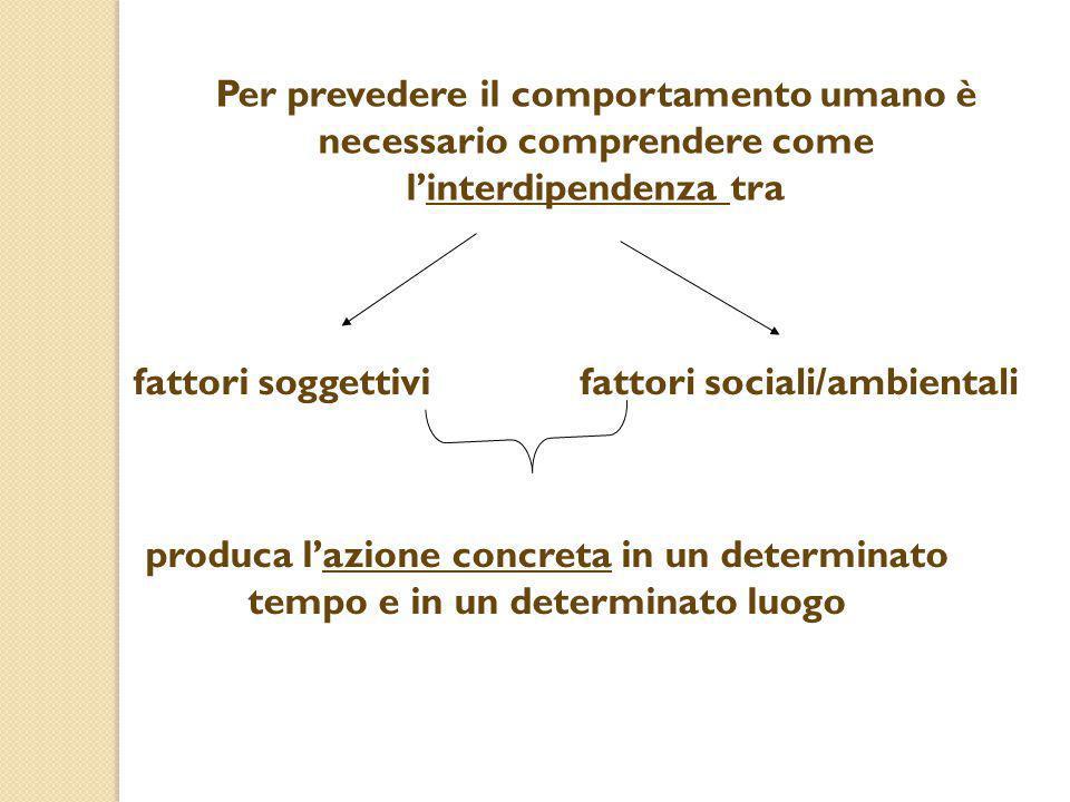 Per prevedere il comportamento umano è necessario comprendere come l'interdipendenza tra fattori soggettivifattori sociali/ambientali produca l'azione
