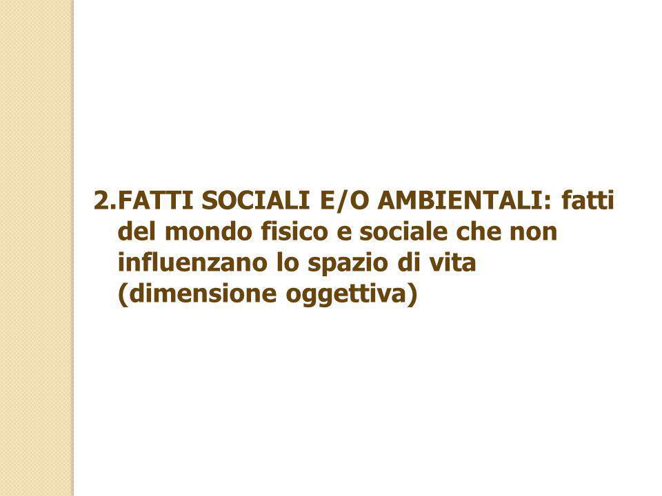 2.FATTI SOCIALI E/O AMBIENTALI: fatti del mondo fisico e sociale che non influenzano lo spazio di vita (dimensione oggettiva)