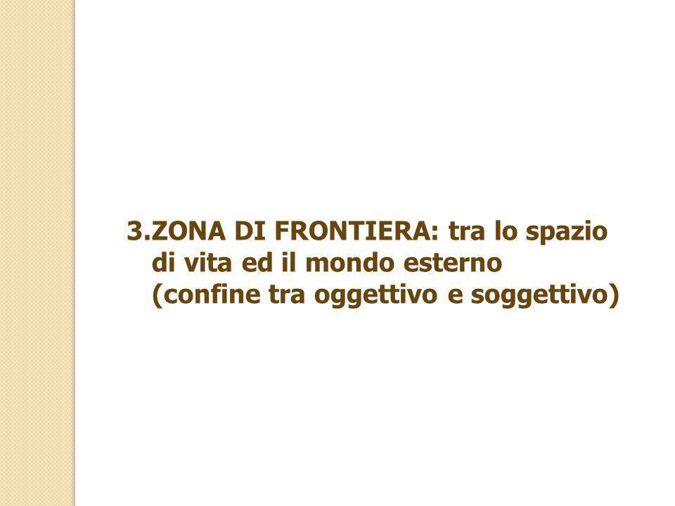 3.ZONA DI FRONTIERA: tra lo spazio di vita ed il mondo esterno (confine tra oggettivo e soggettivo)