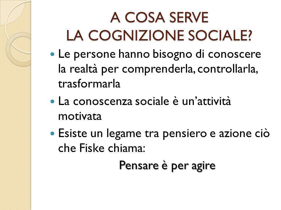 A COSA SERVE LA COGNIZIONE SOCIALE? Le persone hanno bisogno di conoscere la realtà per comprenderla, controllarla, trasformarla La conoscenza sociale