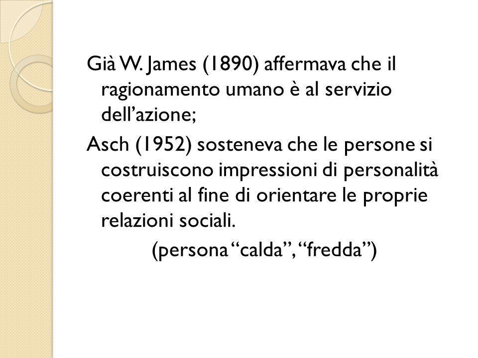 Già W. James (1890) affermava che il ragionamento umano è al servizio dell'azione; Asch (1952) sosteneva che le persone si costruiscono impressioni di