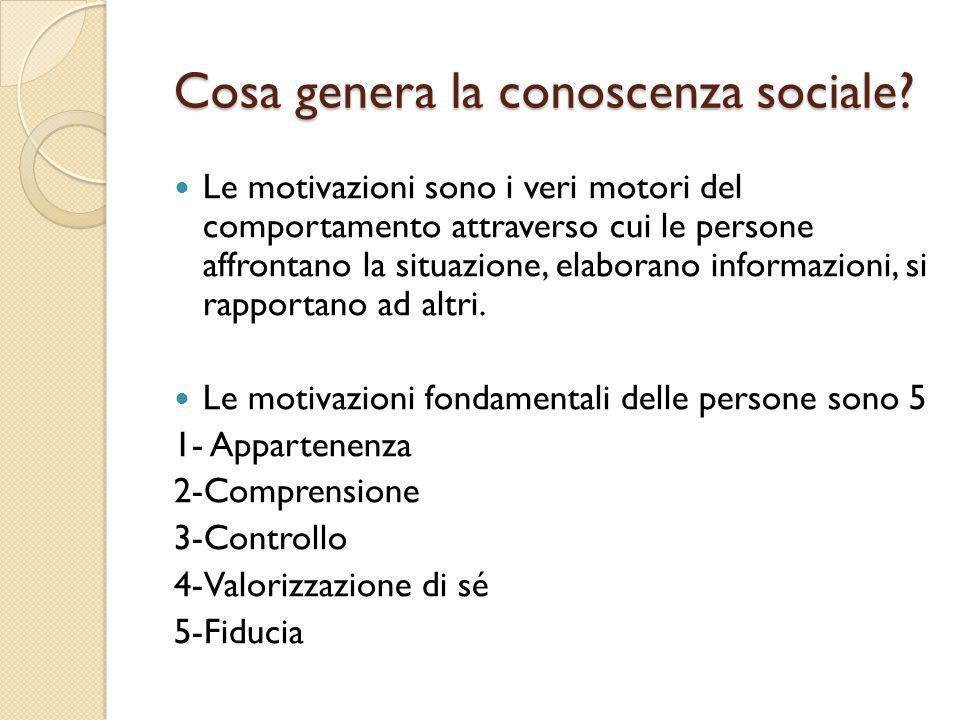 Cosa genera la conoscenza sociale? Le motivazioni sono i veri motori del comportamento attraverso cui le persone affrontano la situazione, elaborano i
