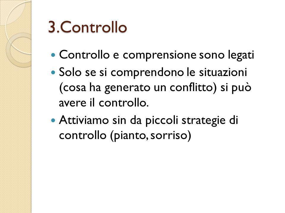 3.Controllo Controllo e comprensione sono legati Solo se si comprendono le situazioni (cosa ha generato un conflitto) si può avere il controllo. Attiv