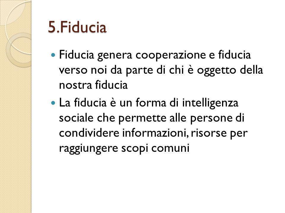 5.Fiducia Fiducia genera cooperazione e fiducia verso noi da parte di chi è oggetto della nostra fiducia La fiducia è un forma di intelligenza sociale