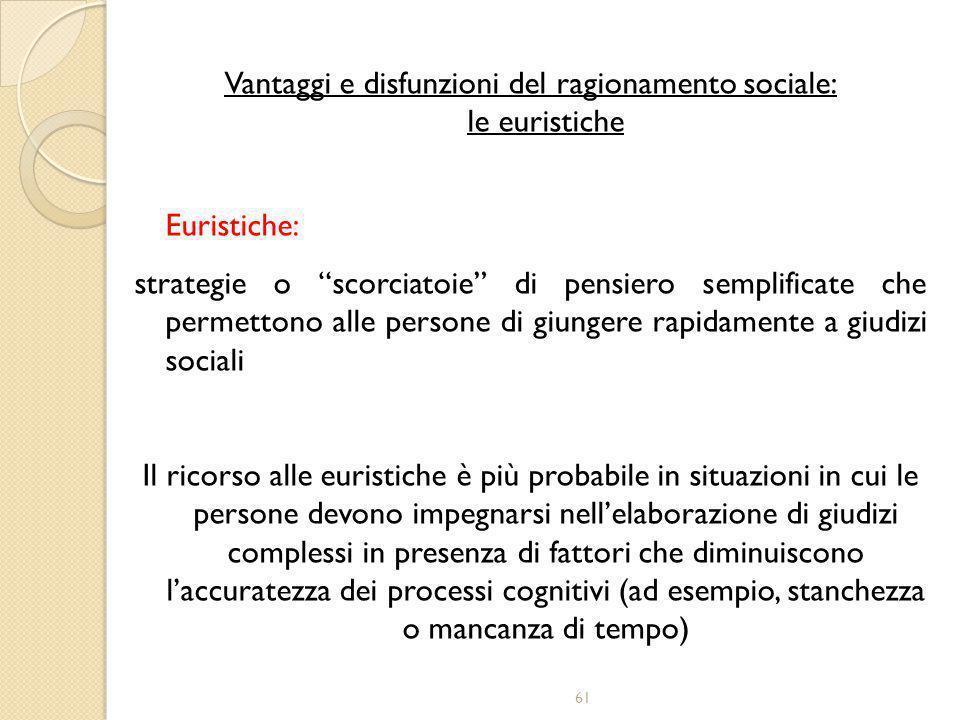 """61 Vantaggi e disfunzioni del ragionamento sociale: le euristiche Euristiche: strategie o """"scorciatoie"""" di pensiero semplificate che permettono alle p"""