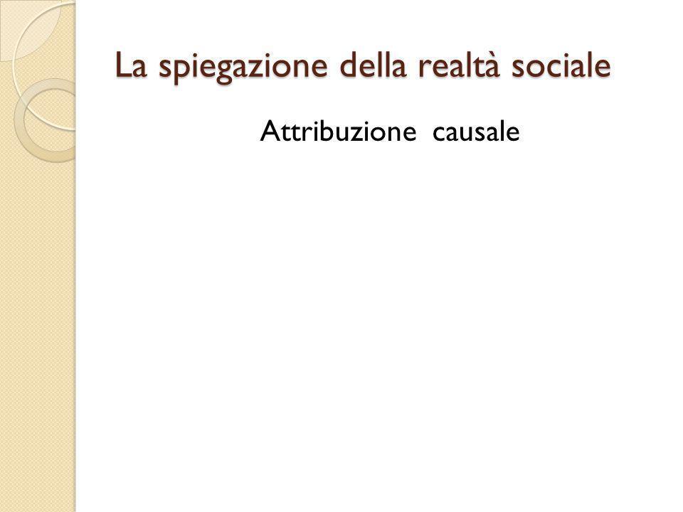 La spiegazione della realtà sociale Attribuzione causale