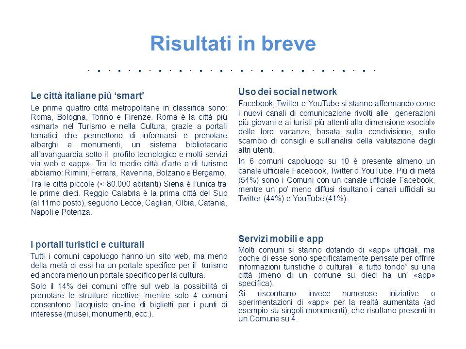 Conclusioni Web, social networks, app e e-Commerce possono trasformare il turismo e la cultura, due delle componenti fondamentali ai fini del rilancio economico del Paese, e rendere le città italiane più competitive.