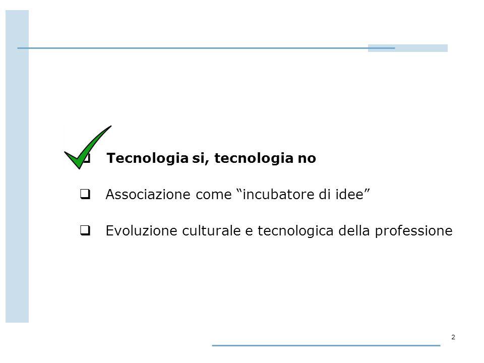 2  Tecnologia si, tecnologia no  Associazione come incubatore di idee  Evoluzione culturale e tecnologica della professione