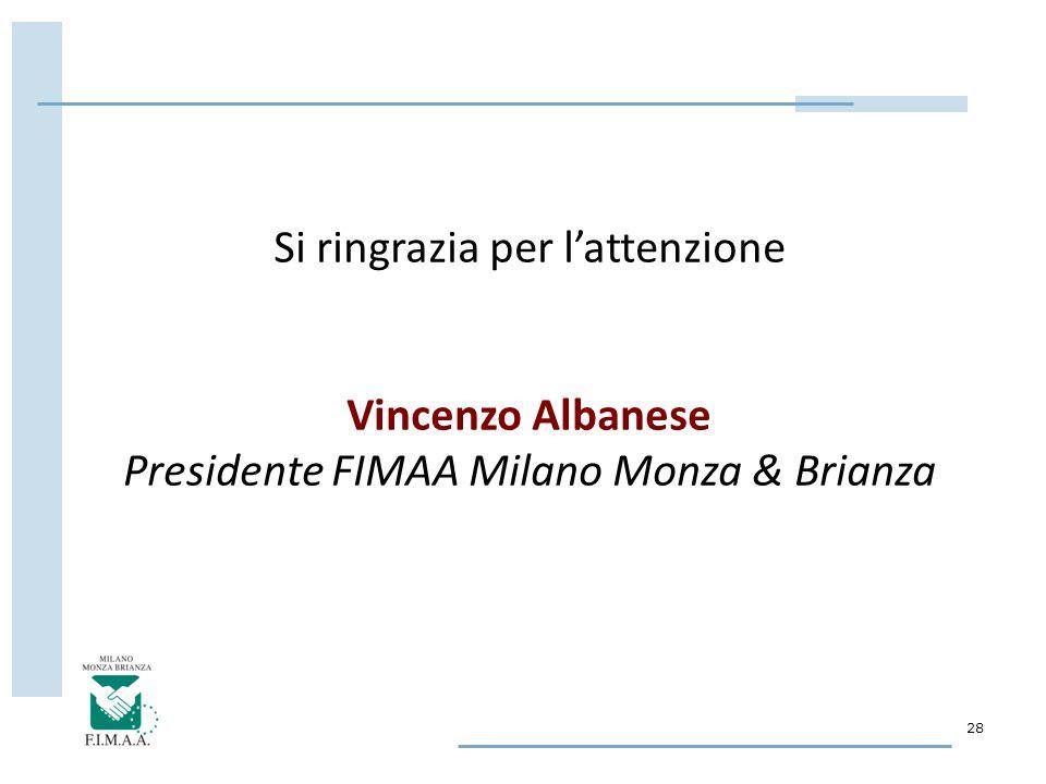28 Si ringrazia per l'attenzione Vincenzo Albanese Presidente FIMAA Milano Monza & Brianza