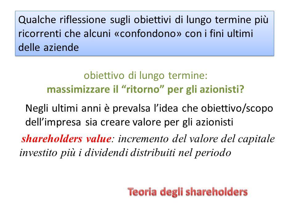 Negli ultimi anni è prevalsa l'idea che obiettivo/scopo dell'impresa sia creare valore per gli azionisti shareholders value: incremento del valore del capitale investito più i dividendi distribuiti nel periodo obiettivo di lungo termine: massimizzare il ritorno per gli azionisti.
