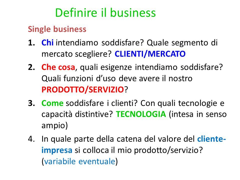 Single business 1.Chi intendiamo soddisfare. Quale segmento di mercato scegliere.